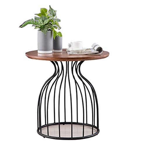 Xiaomei Nordic Solid Wood Coffee Table Creative Wrought Iron Sofa Round Side Table ()