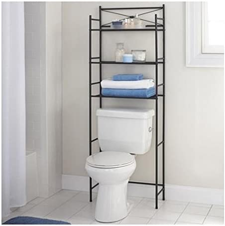 Amazon Com Mainstay 3 Shelf Bathroom Space Saver Storage Organizer Over The Rack Toilet Cabinet Shelving Towel Rack Oil Rubbed Bronze Home Kitchen