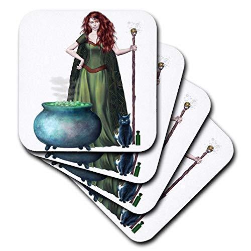 3dRose CST_131386_3 Halloween Witch Cauldron Cat Ceramic Tile Coasters (Set of 4)]()