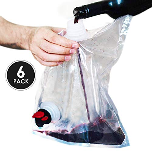 Wine Purse Replacement Bags - Innovative Easy to Fill Screw Top- Holds 4 Bottles of Wine- 3 Liter (100 oz) Disposable - Reusable Wine Pouch For Use in Wine Purse with Hidden Spout- (Pack of 6)