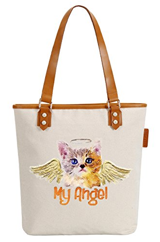 So'each Women's My Angel Cat Art Canvas Tote Pearly Top Handle Shoulder Bag