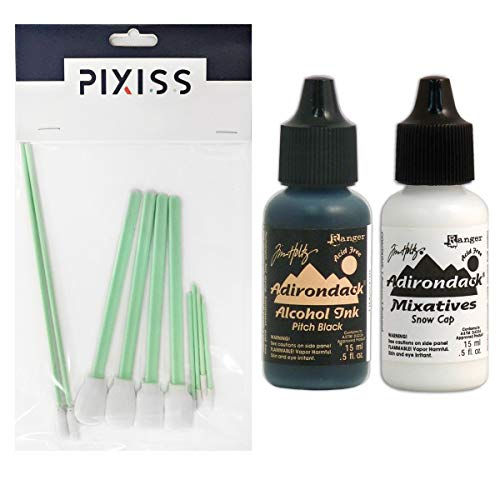 - Tim Holtz Ranger Alcohol Ink .5oz Snow Cap and Pitch Black with Pixiss Blending Tools