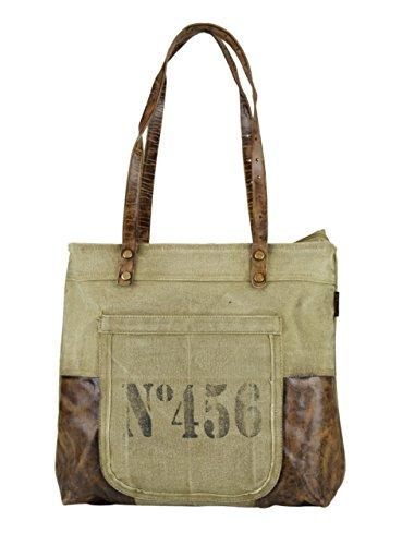 donna Borse a mano Borsa annata a tracolla in tela stile militare 43x35x11cm 1801