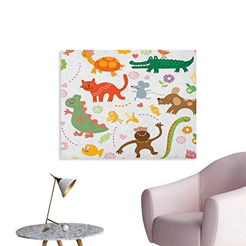 Anzhutwelve Boys Wall Sticker Decals Jolly Cartoon Animals Colorful Flowers and Hearts for Cheerful Babies and Children Art Poster Multicolor W28 xL20 ()