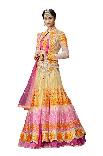 PCC Indian Women Designer Wedding Pink,Beige Lehenga Choli R-15954