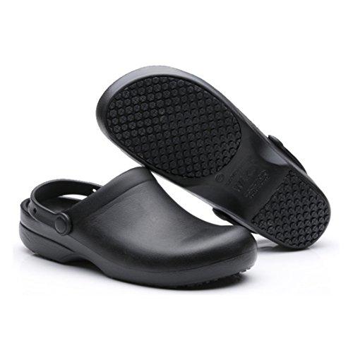 EASTSURE Work Clog Unisex Slip Resistant Kitchen Shoes Black for Nurse Chef,US 10,EU 42