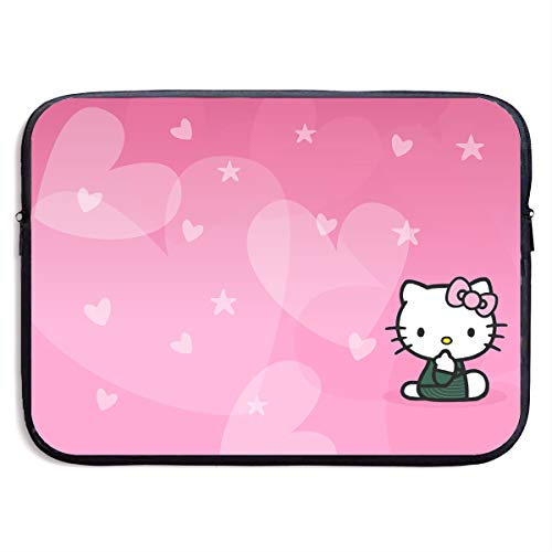 Neoprene Laptop Sleeve Bag Hello Kitty Pink Heart Notebook Tablet Bag for 13-15 Inch Notebook Tablet IPad ()