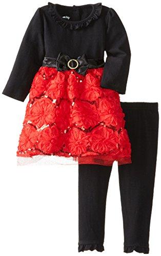 Velvet Satin Holiday Dress (Nannette Baby Girl's Satin Ribbon Sequin Tulle Holiday Dress (18 Months))
