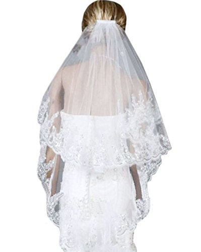 Two Layer Lace Tulle Silver Sequins Bridal Veil Wedding Veil with Comb from Mily