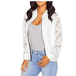 Izhh Womens Jacket Coat Long Sleeve Lace Blazer Suit Casual Outwear White 2xl