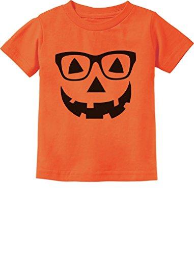 Cute Little Geeky Pumpkin Halloween Jack O' Lantern Toddler/Infant Kids T-Shirt 5/6 Orange