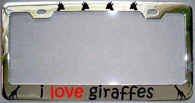 Love Giraffes Giraffe Chrome Metal License Plate Frame Perfect for Men Women Car garadge - Plate License Umbrella