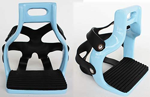 - PRORIDER Horse Saddle English Alumnium Safety Flex Caged Endurance Stirrups Blue 51110LB