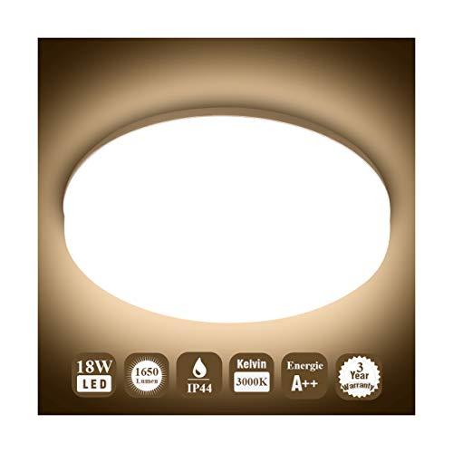 Öuesen 18 W waterdichte led-lamp, plafondlamp, moderne, dunne ronde led-plafondlamp, 1650 lm, warm wit, 3000 K, voor…