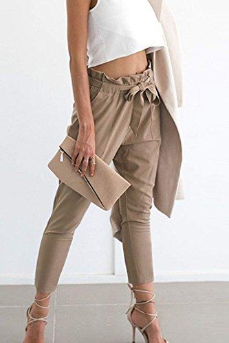 Basic Haute Fit Taille Confortable D'été Avec Kaki Slim Femme Temps Ceinture Unicolor Casual Vêtements Élégant Pantalons Femmes Libre Mode HCnw0WqRO