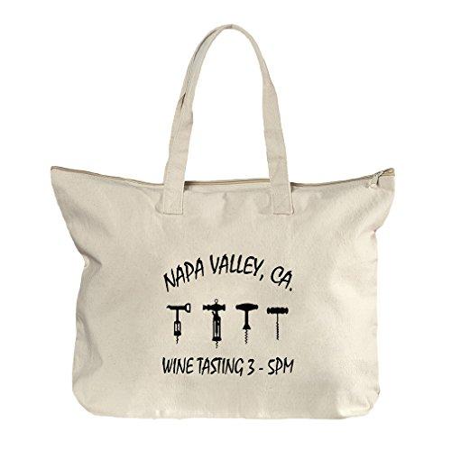 Napa Valley Ca Wine Tasting 3 Canvas Beach Zipper Tote Bag - Napa In Shopping Ca