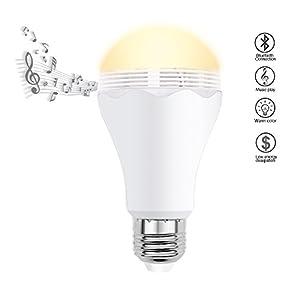 Minger Ampoule LED Bluetooth Sans Fil Intelligente, 6.5W 2700K Musique Ampoule avec Audio Mini Enceinte, parfait pour Android iOS, bureau chambre hôtel etc.