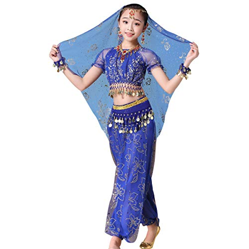 Les Mis Halloween Costumes (Kids Belly Dance Pants Bollywood Costume - Halloween Chiffon Dance Outfit Costumes with Head)