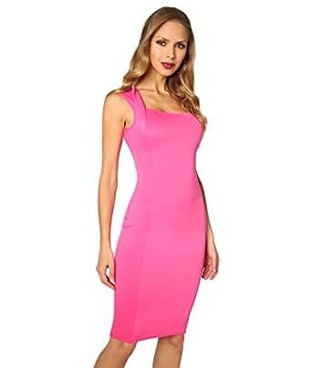 KRISP Square Neck Bodycon Dress (Cerise, US 4),[6872-CER-08]