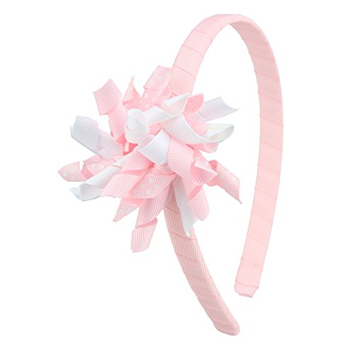 7Rainbows Fashion Headbands with Curled Korker Bows For Toddlers Girls (Lt. Pink)