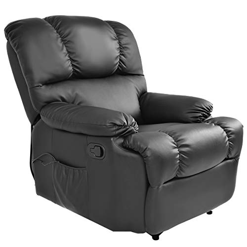 Giantex Recliner Massage Sofa Chair with Heating Set and 8 Vibrating Modes, Ergonomic Full Body Leather Massage Chair Recliner with Control for Home, Living Room (Black) - Full Size Recliner