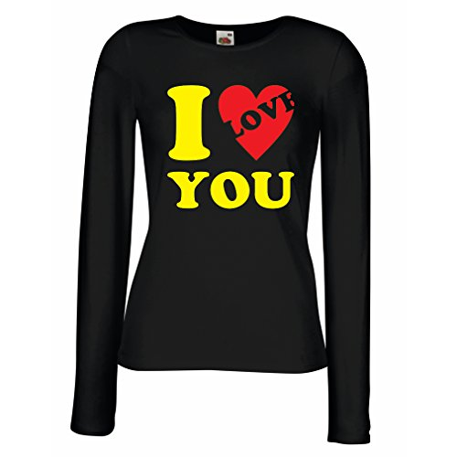 T shirts for women Long sleeve I love you! - sexy St Valentines gifts (X-Large Black Yellow)