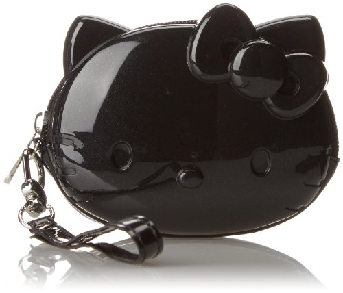 Hello Kitty Pearl 3D Face wrist Strap Purse,Black,One Size