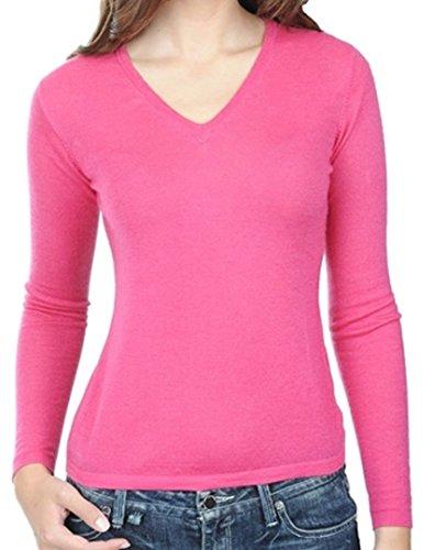 Balldiri 100% Cashmere Kaschmir Duvet Damen Pullover V-Ausschnitt 2-fädig dunkel rosa XS