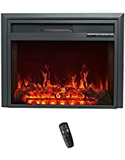 FLAME&SHADE Insert Electric Fireplace, 81cm Wide, Freestanding Portable Room Heater with Timer, Digital Thermostat and Remote