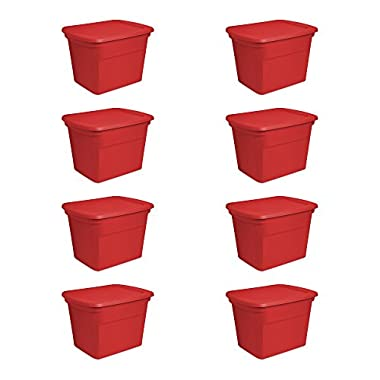 Sterilite 18 Gallon Durable Stacking Seasonal Storage Tote, Red (8 Pack)