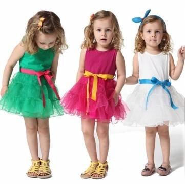 Bheema girls princesa Tulle tanque de baile vestido bebé niños bowknot falda 0–4Y