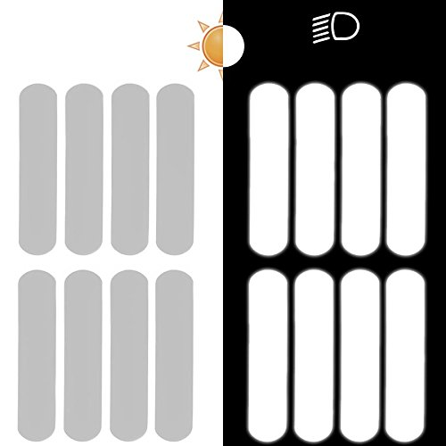 8 Bandes de stickers r/éfl/échissants pour casque moto 9x2 cm Blanc R/éfl/échissant