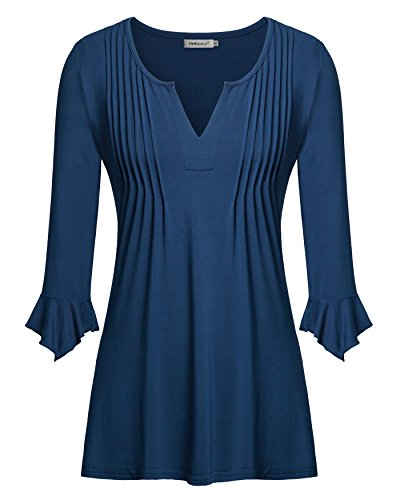 Cap Sleeve Polo Top (Lightweight Shirts for Women, Helloacc 3 4 V Neck Tops Flare Sleeves Tunic, Blue, Large)
