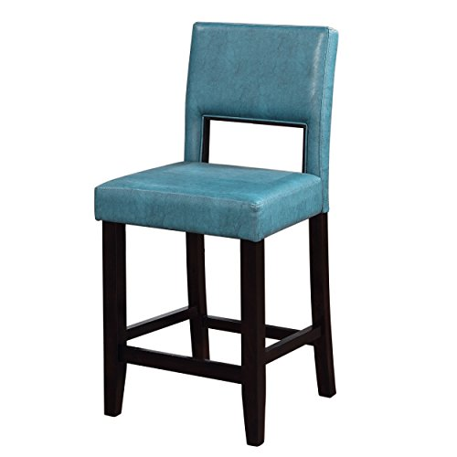 Comfortable Sturdy Durable Zeta Ocean Blue Fabric Stationary Kitchen Counter - Leather Chair Ocean