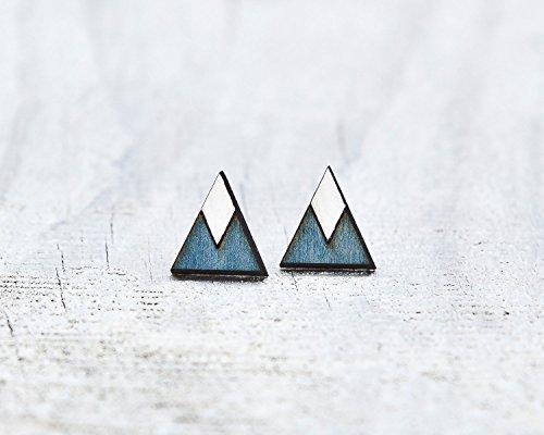 Blue Stud Earrings, Mountain Earrings, Geometric Earrings, Tribal Earrings, Native Jewelry, Girlfriend Gift, Bridesmaid Earrings, Blue Triangle Earrings, Valentines Day Gift for Her -