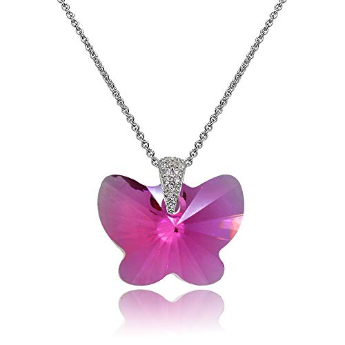 (Sterling Silver Fuschia Butterfly Pendant Necklace Made with Swarovski Crystals for Women)