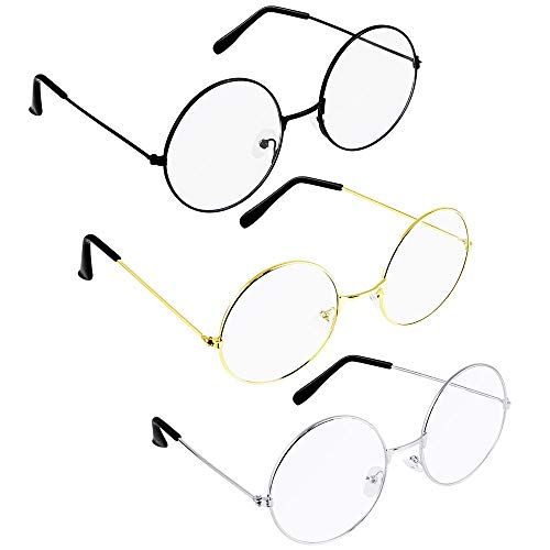 TANCUDER 3 Pairs Retro Round Glasses Metal Frame Eyewear with Non-Prescription Clear Lens Unisex Circle Vintage Glasses for Daily Decorative (Black,Gold,Silver) (Vintage Circle Frame Gläser)