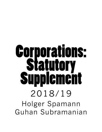 Corporations: Statutory Supplement: 2018/19