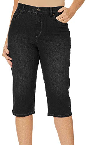 (GLORIA VANDERBILT Womens Amanda Embroidered Skimmer Shorts 12 Black)