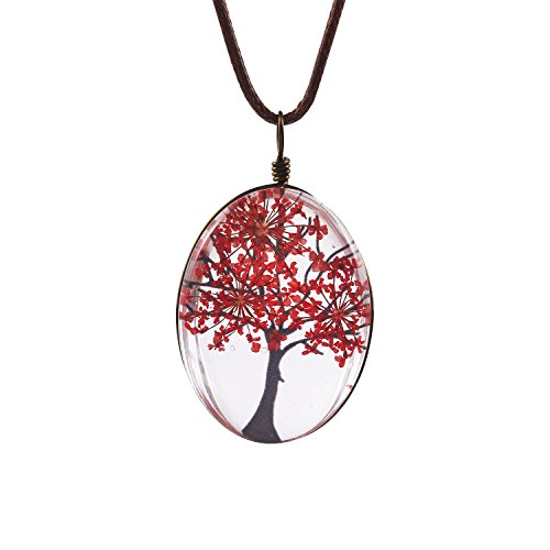 FM42 Red Life of Tree Queen Anne's Lace Dried Flowers Oval Pendant Necklace FN4073 (Handmade Glass Flower)