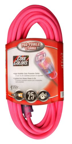 Coleman Cable 02577-0A 25-Foot 12/3 Neon Outdoor Extension Cord, Fluorescent Pink