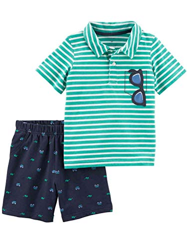 Carter's Boys' Newborn-5T 2 Piece Short Sleeve Sunglass Pocket Polo and French Terry Shorts Set 12 Months