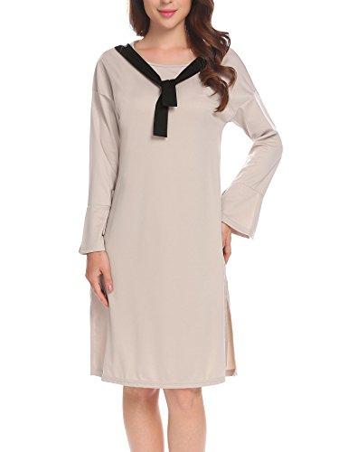 Flare Neck Hem Gray Split Loose Dress Sleeve O Lace Bulges Up Long Casual Women qXwTpUT