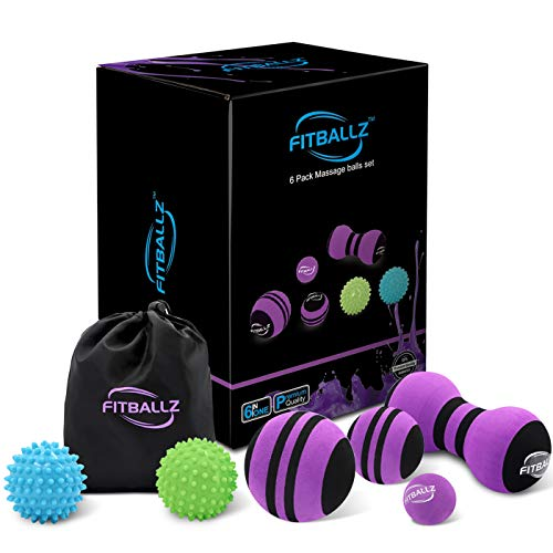 Fitballz Massage Ball Set for Trigger Point & Myofascial Release | Premium 6 Pack Muscle Massager Tools for Deep Tissue Therapy | Foot Reflexology | Plantar Fasciitis | Spiky, Peanut, 3 Massage Balls