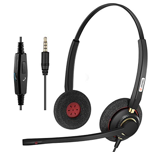 Arama 3.5mm Cell Phone Headset Dual, Pro Noise Canceling Mic and in-line Controls Corded Truck Driver Headsets for iPhone, Samsung, LG, HTC, BlackBerry Mobile Phone and iPad Tablets Skype A800J35