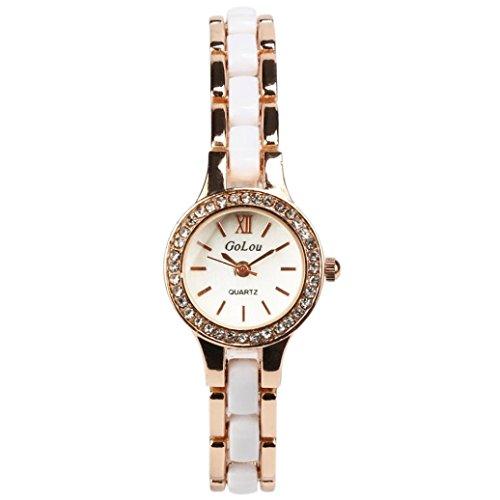 GBSELL Women Metal Ceramic Bracelet Rhinestone Dial Quartz Analog Wrist Watch (Ceramic Analog Quartz Watch)