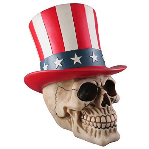 - Uncle Sam Skull Figurine, Skeleton Head Sculpture Statue, American Flag Top Hat, Grateful Dead Movie
