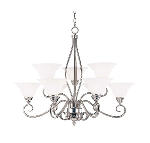 Savoy House KP-SS-99-9-69 Chandelier with White Faux Alabaster Shades, Pewter Finish - Pewter Chandelier