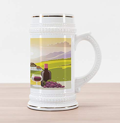 Ambesonne Winery Beer Stein Mug, Wine Cheese Bread with Mountain Landscape in French Rurals Pastoral Scenery, Traditional Style Decorative Printed Ceramic Large Beer Mug Stein, Green Purple Cream