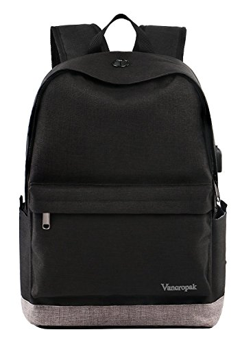 Student Backpack, School Backpack for Laptop, Unisex College Bookbag Back Bag with USB Charging Port, Fits 15.6 inch Laptop, Travel Water-resistant High School Rucksack for Men/Women, Boys/Girls by Vancropak